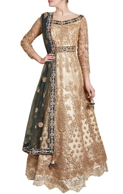 Gold & green sequin work anarkali with dupatta