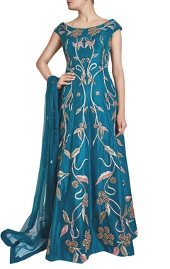 blue zardosi embellished anarkali with dupatta