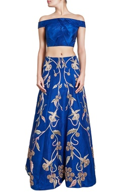 blue motif embellished skirt with crop top