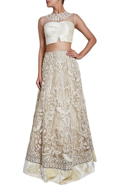 Off-white dori embroidered lehenga with top