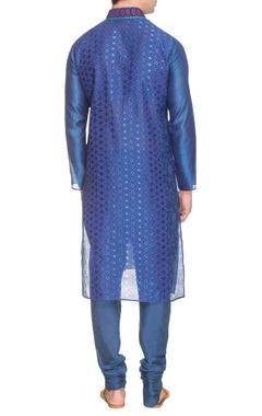 Blue printed & embroidered kurta set