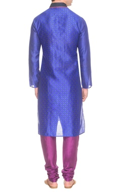 Blue printed & embroidered kurta