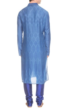 Blue thread embroidered kurta