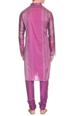 Purple striped kurta with embroidered neck