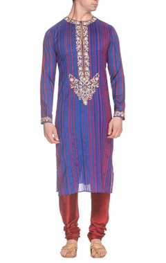 Blue & maroon striped kurta with gold embroidery