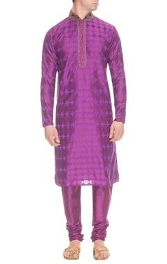 Purple thread embroidered kurta set