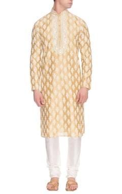 Yellow kurta set with white motifs