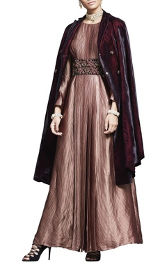 Rust pink zardozi embroidered dress