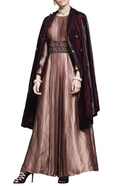 Plum velvet jacket with embroidered belt