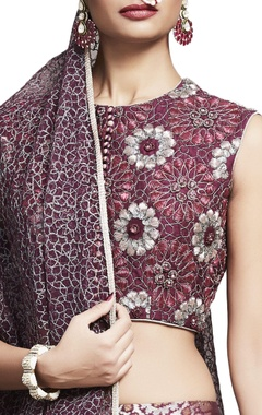 plum banarasi silk embroidered lehenga set