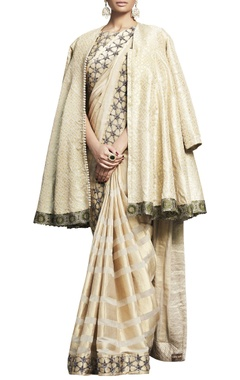 Ivory & beige embroidered handloom sari with blouse