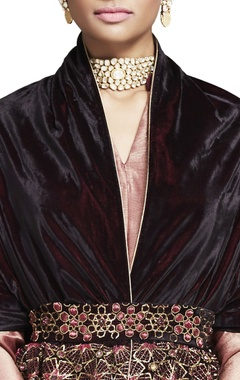 Plum velvet embroidered wrap with belt