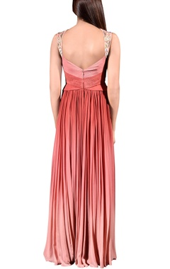 Rose pink & sienna shaded floral embroidered gown