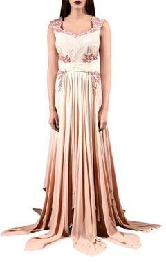 Pale peach embroidered gown