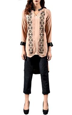 Beige layered embellished tunic