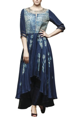 peacock blue shibori embroidered tunic