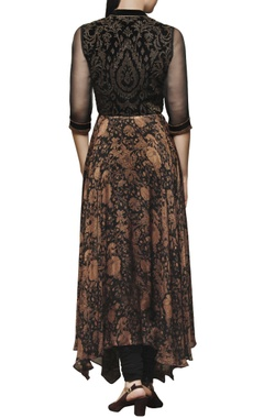 Black embroidered & printed anarkali with pants