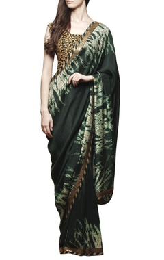 Bottle green shibori sari with blouse