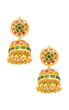 Mehtaphor Traditional red & green floral jhumkas