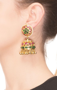 Traditional red & green floral jhumkas