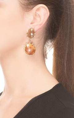 Brown textured drop earrings