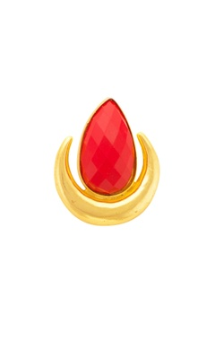 Mehtaphor Gold moon shaped ring with red stone