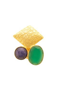 Mehtaphor Gold, green & blue ring