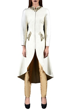 Ivory embellished jacket & pants