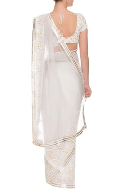 Ivory floral embroidered sari