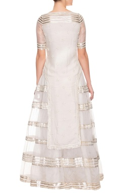 Ivory tiered embroidered kurta with lehenga