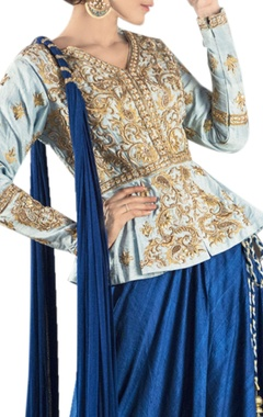 Blue danka dori embroidered lehenga set