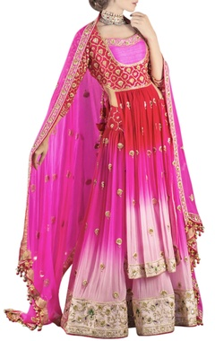 red & pink shaded embroidered lehenga set
