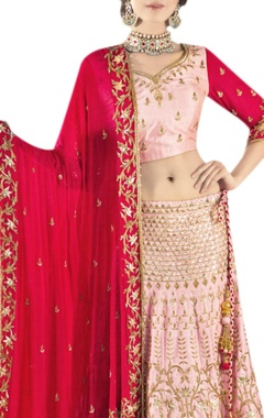 baby pink & red embroidered lehenga set