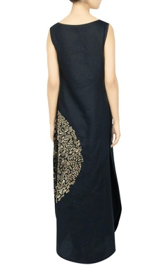 Black embroidered cocoon dress