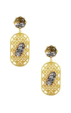 Mehtaphor Black & white enamel finish drop earrings
