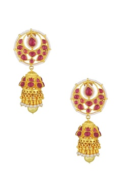Mehtaphor Red studded jhumkas