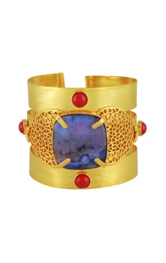 Mehtaphor Gold plated victorian stone cuff