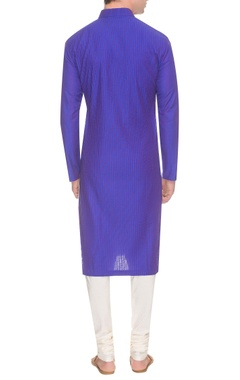 Deep blue & purple diagonal pintuck kurta