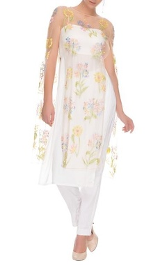 White floral cape with kurta and pants