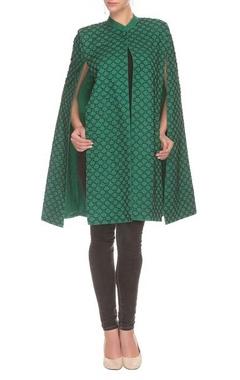 Green & black bead embellished cape jacket