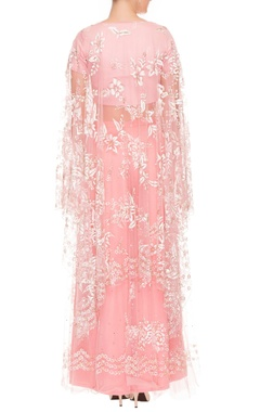 Pink palazzo & top set with floral cape