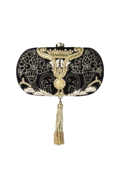 Black zardosi clutch with tassel