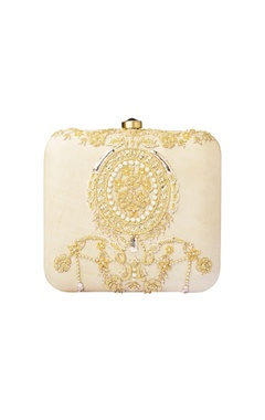 Cream & gold dabka embellished clutch