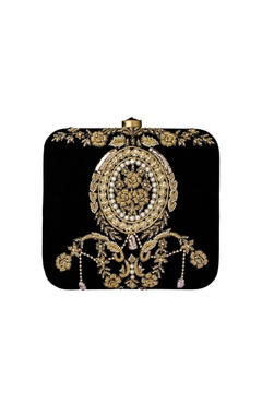 Black zardosi dabka embellished clutch