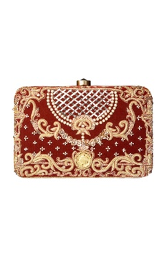 Beige Japanese bead work clutch
