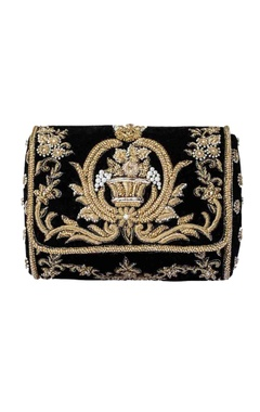 Black clutch with gold zardosi work