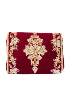 Maroon & gold zardosi embroidered clutch