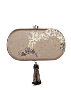 Grey sequin embellished clutch