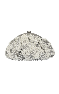Grey pearl embellished clutch