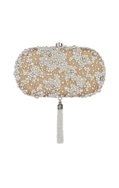 Beige pearl embellished oval clutch